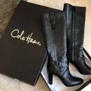 Cole Haan tall black leather high heeled boot
